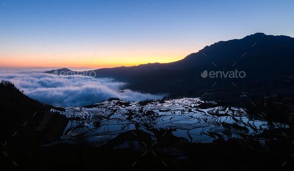 Yuanyang rice terrace at sunrise, Yunnan, China - Stock Photo - Images