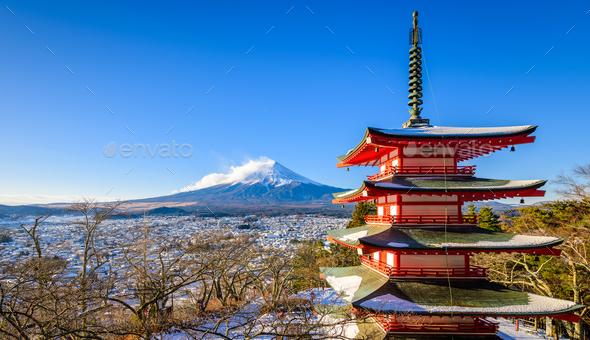 Mt. Fuji with Chureito Pagoda in Winter, Fujiyoshida, Japan - Stock Photo - Images