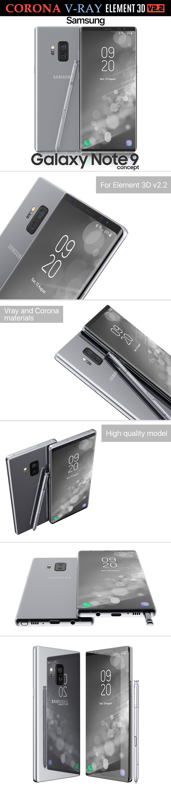 Samsung Galaxy Note 9 Gray Concept - 3DOcean Item for Sale