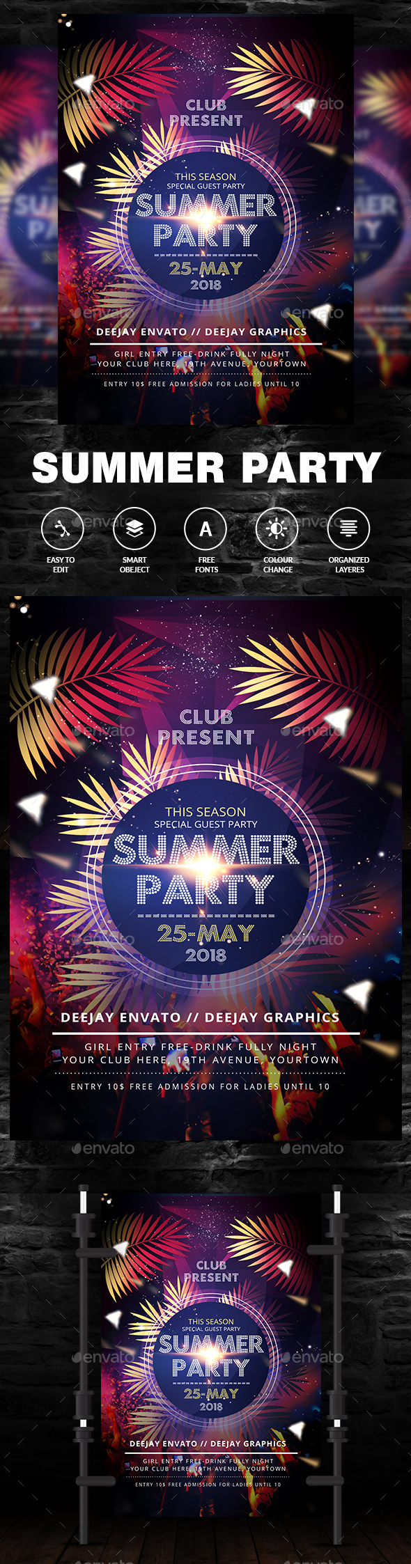 Summer Night Dance Party - Events Flyers