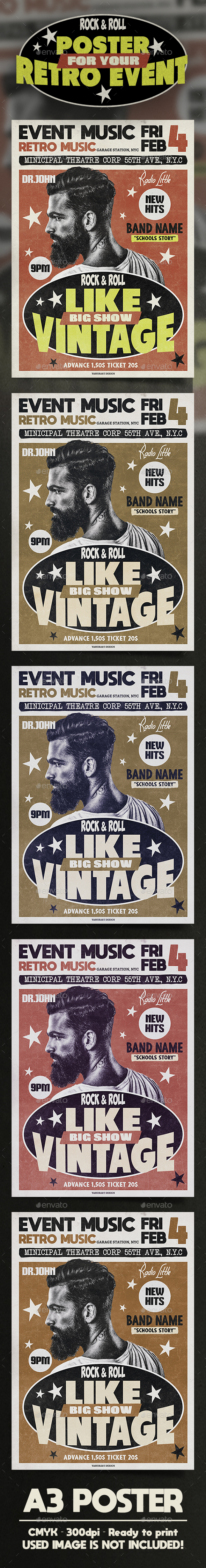 A3 Vintage Poster / Flyer Music Template - Clubs & Parties Events