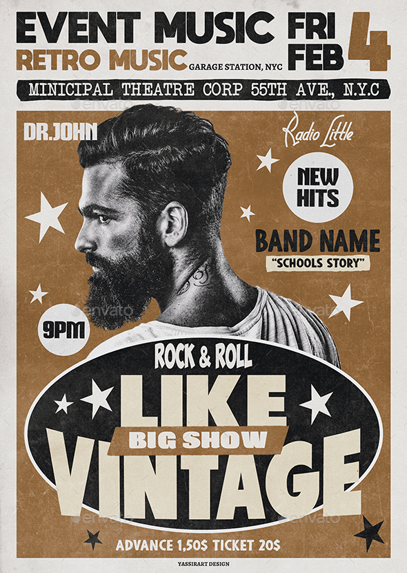 A3 Vintage Poster / Flyer Music Template by yassirart | GraphicRiver