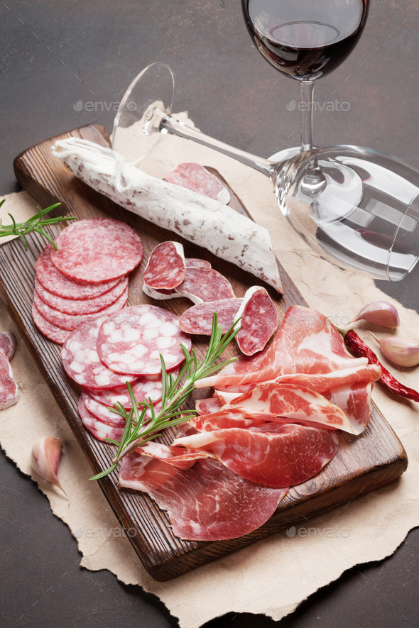 Salami, sausage, prosciutto and wine - Stock Photo - Images