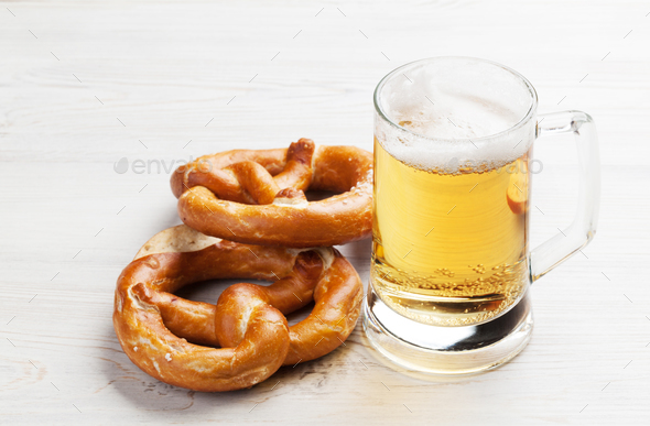 Lager beer and pretzel - Stock Photo - Images