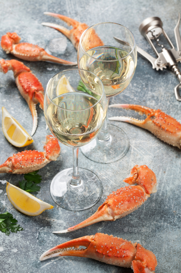 Seafood and wine - Stock Photo - Images
