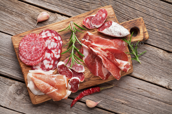Salami, sliced ham, sausage, prosciutto - Stock Photo - Images