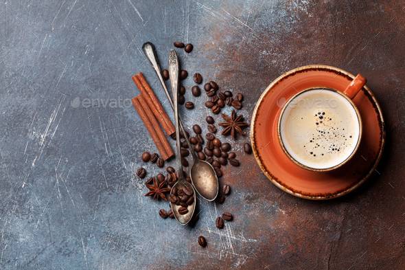 Coffee cup, beans and sugar - Stock Photo - Images