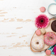 Milk, donuts and flowers on wooden table - PhotoDune Item for Sale