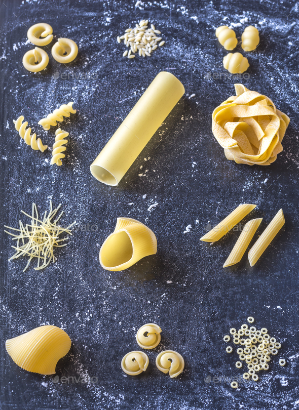 Various types of raw pasta - Stock Photo - Images