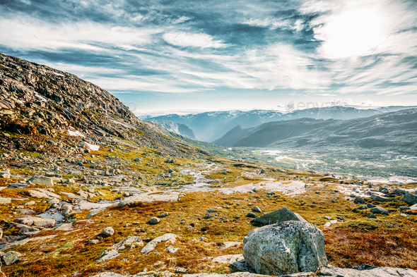 Landscape Of Norwegian Mountains. Nature Of Norway. Travel And H - Stock Photo - Images
