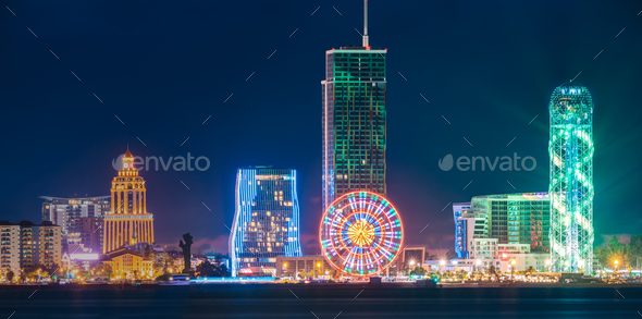 Batumi, Adjara, Georgia. Panorama Of Modern Architecture In Seaf - Stock Photo - Images