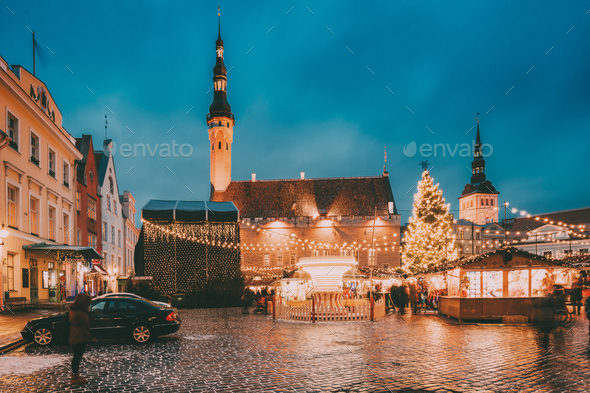 Tallinn, Estonia. Traditional Christmas Market On Town Hall Squa - Stock Photo - Images