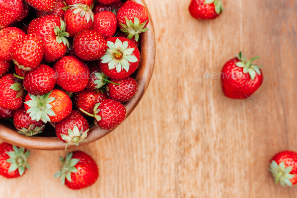 Bowl Filled With Fresh Ripe Red Strawberries On Wooden Table. To - Stock Photo - Images