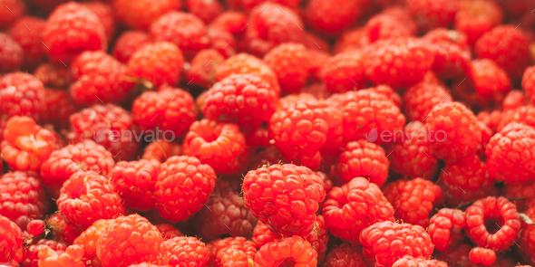 Fresh Red Sweet Berries Raspberries Background. - Stock Photo - Images