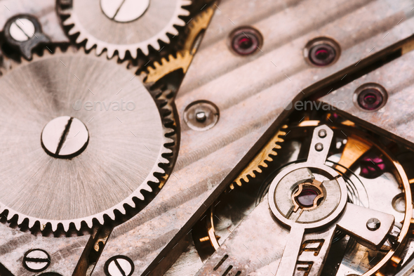 Old Clockwork Background. Clock Watch Mechanism With Gray And Go - Stock Photo - Images