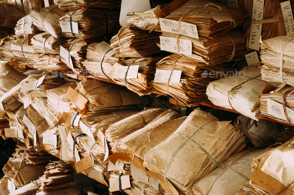 Old Paper Waste. Vintage Keeping Records In Heaps - Stock Photo - Images