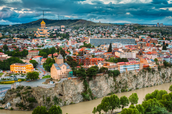 Tbilisi, Georgia. Scenic View Cityscape Of Summer Old Town. Mete - Stock Photo - Images