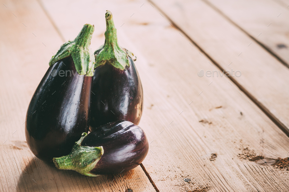 Healthy Organic Vegetables Two Eggplants On A Wooden Table - Stock Photo - Images