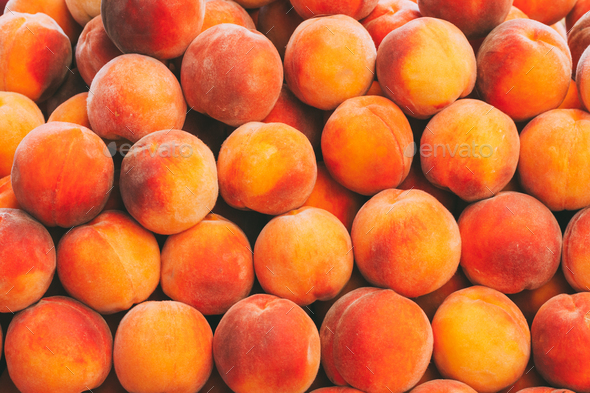 Peaches Fruits Background In The Grocery Market. Healthy And Tas - Stock Photo - Images