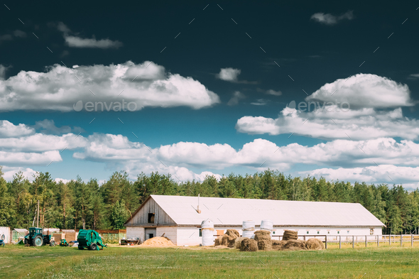 Countryside Rural Paddock For Horse, Shed Or Barn Or Stable With - Stock Photo - Images
