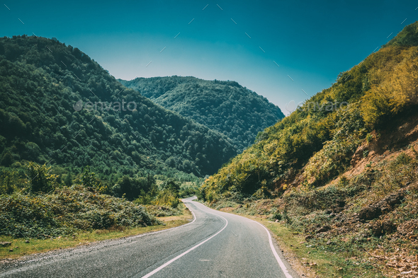 Mountain Open Road Landscape In Imereti Region, Khoni District, - Stock Photo - Images