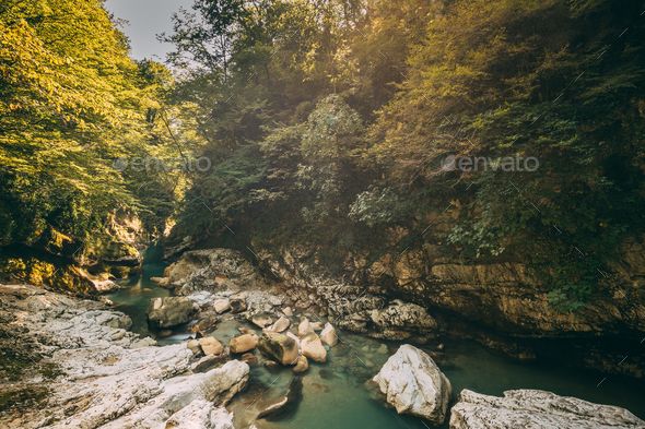 Martvili Canyon, Georgia. Landscape Abasha River. Natural Monume - Stock Photo - Images