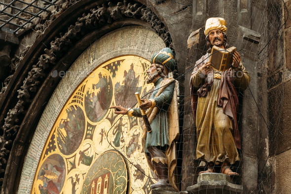 The astronomical clock, or Prague orloj is a medieval clock in P - Stock Photo - Images