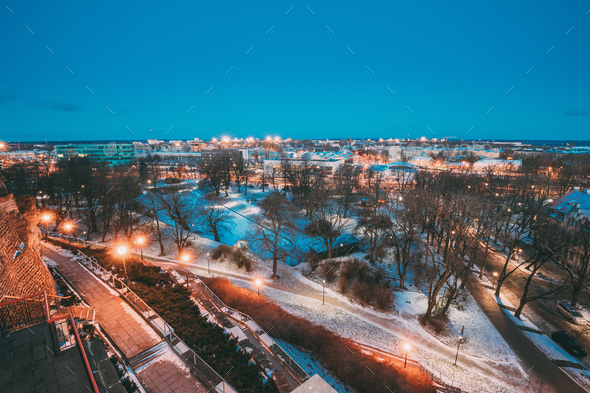 Tallinn, Estonia. Old Stone Staircase And Cityscape At Winter Ev - Stock Photo - Images