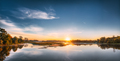 Panorama Of Autumn River Landscape In Europe At Sunrise. Sun Shi - PhotoDune Item for Sale