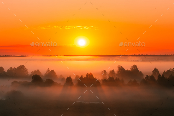 Amazing Sunrise Over Misty Landscape. Scenic View Of Foggy Morni - Stock Photo - Images