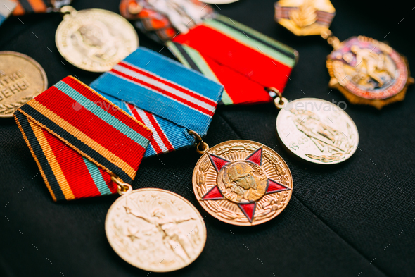 Anniversary Medals Of A Victory In The Great Patriotic War On A - Stock Photo - Images