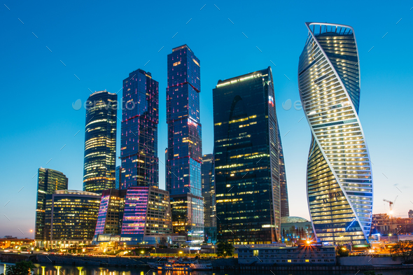 Buildings Of Moscow City Complex Of Skyscrapers At Evening In Mo - Stock Photo - Images