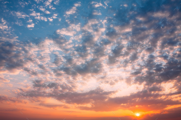 Sunset Sunrise Sky Background. Natural Bright Dramatic Sky In Su - Stock Photo - Images