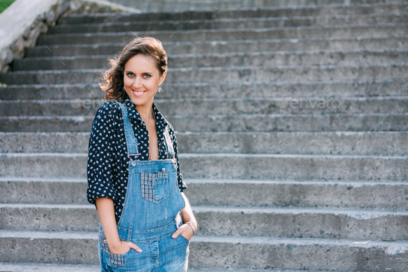 Beautiful Portrait Of Pretty Young Caucasian Woman Wear In Denim - Stock Photo - Images