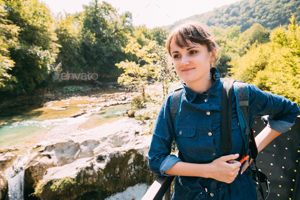Martvili Canyon, Georgia. Tourist Young Beautiful Pretty Caucasi - Stock Photo - Images