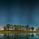 Night Starry Sky Above Lake River. Night Glowing Stars And Trees - PhotoDune Item for Sale
