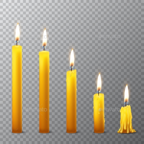 Vector 3d Realistic Orange Paraffin Candles - Man-made Objects Objects