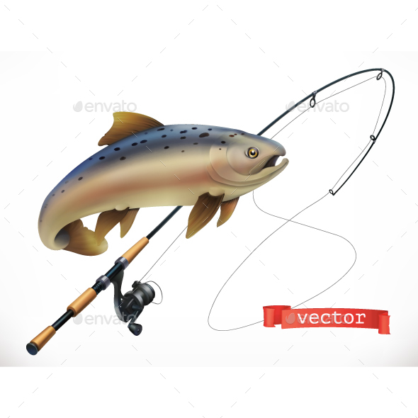 Fish and Fishing Rod - Sports/Activity Conceptual
