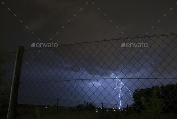 Electric Fence Lightning Strike - Stock Photo - Images