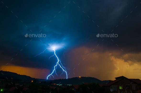 Sunset Lightning Thunderstorm - Stock Photo - Images