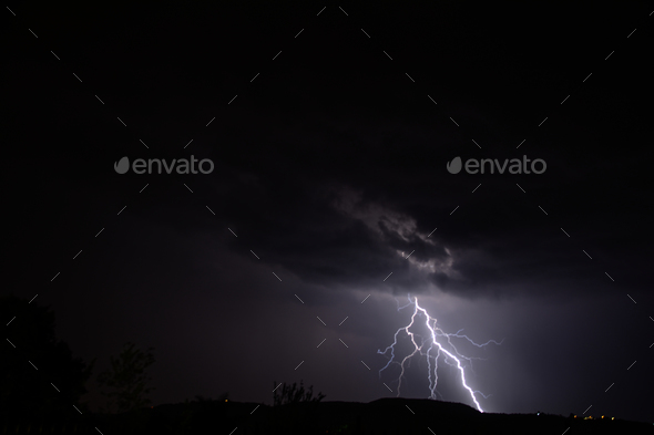 low cloud lightning in night skies - Stock Photo - Images