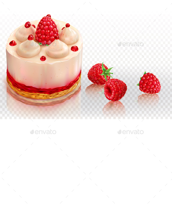 Creamy Cake with Raspberries - Food Objects