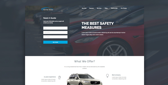 Rental Rides Unbounce Landing Page by xvelopers
