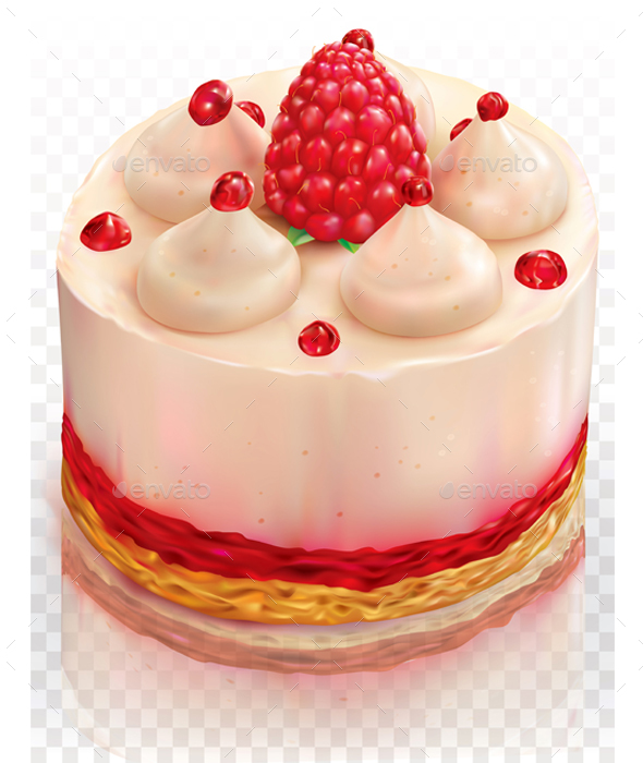 Creamy Cake with Raspberry - Food Objects