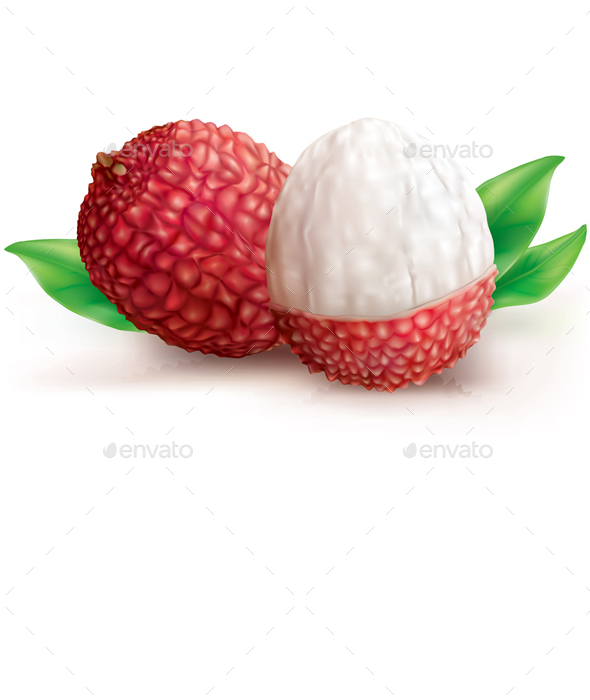 Two Lychee Fruits - Food Objects