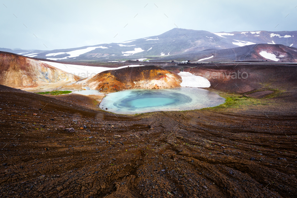 Acid hot lake in the geothermal valley - Stock Photo - Images