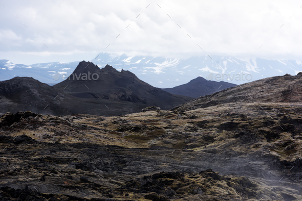 Lavas field in the geothermal valley - Stock Photo - Images