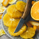 Orange pieces on grey plate closeup - PhotoDune Item for Sale