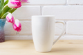 White coffee cappuccino mug mockup with magenta pink tulips - PhotoDune Item for Sale