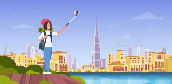 Woman Tourist With Backpack Taking Selfie Photo - People Characters